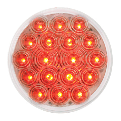 """Fleet"" Red 4"" round 18 diode LED stop/turn/tail light - CLEAR lens"