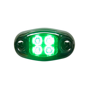 """Dragon"" 4 diode LED oval auxiliary light w/chrome cover - Green"