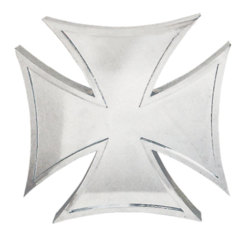"Chrome plastic 4"" x 4"" 3D iron cross"