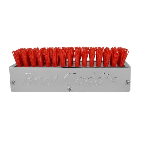 "Chrome aluminum 6"" x 3"" boot brush w/red bristles"