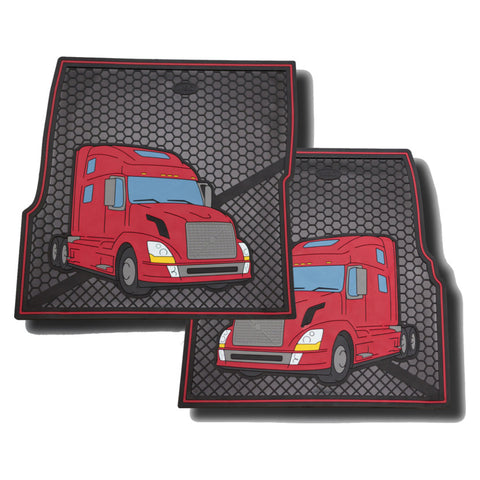 Volvo red/black colored rubber floor mats - PAIR