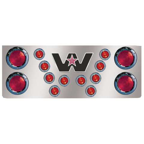 "14"" stainless steel rear center panel w/light holes, Western Star logo holes"
