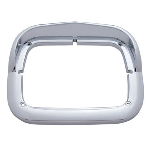 Chrome plastic single square headlight bezel w/visor