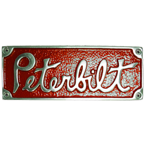 Peterbilt old-style rectangular emblem - red