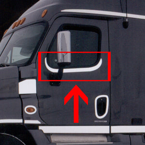 Freightliner Cascadia stainless steel upper door, under window trim - PAIR