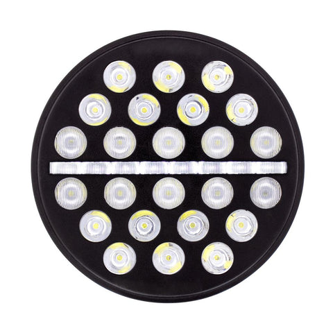 "7"" Diameter LED headlight with 24 high-powered diodes, dual amber/white LED position light - SINGLE"