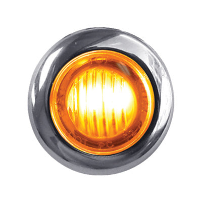 "Dual Revolution Amber/Blue 1"" mini button LED marker light - CLEAR lens"