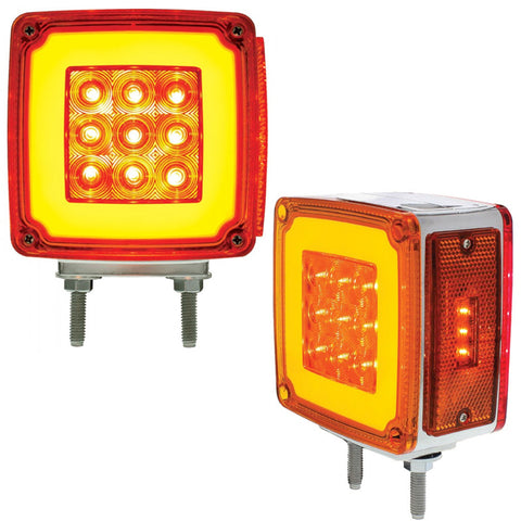 """Halo"" Amber/Red square 59 diode LED turn signal - Driver's Side"