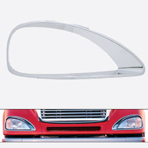 Freightliner Columbia chrome plastic headlight bezel - Passenger's Side