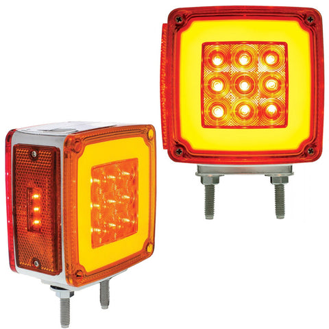 """Halo"" Amber/Red square 59 diode LED turn signal - Passenger's Side"