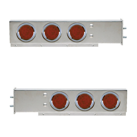 "Stainless steel mudflap hanger w/6 round 4"" Red LED lights - 2.5"" Bolt hole spacing"