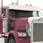 "Freightliner Classic/FLD flat top 15"" stainless steel gangster visor"