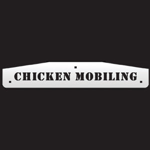 "24"" stainless steel cutout mudflap weights w/backs - PAIR - ""Chicken Mobiling"""