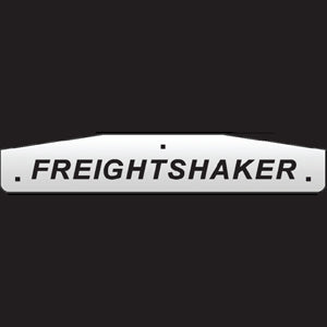 "24"" stainless steel cutout mudflap weights w/backs - PAIR - ""Freightshaker"""