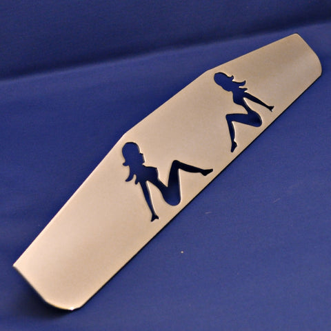 "18"" chrome bottom plate w/sitting nude cutouts - stud mount"