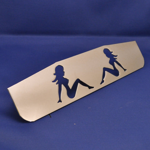 "14"" chrome bottom plate w/sitting nude cutouts - stud mount"