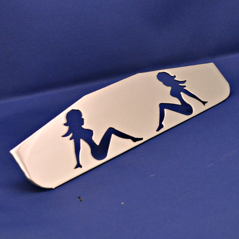"12"" chrome bottom plate w/sitting nude cutouts - stud mount"