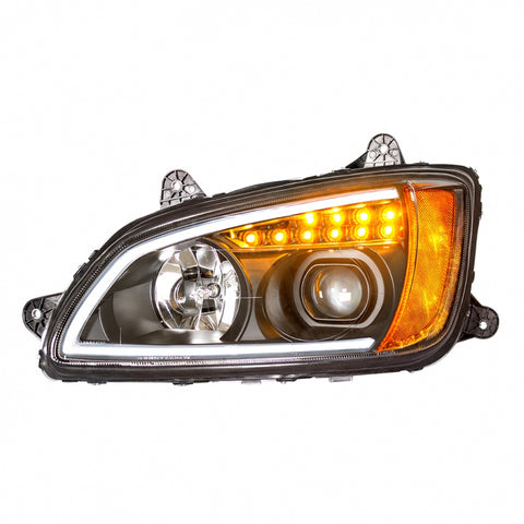 "Kenworth T660 ""Blackout"" projection-style headlight w/LED turn signal"