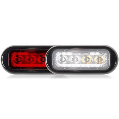 "Maxxima Red/White 8 diode dual color 3.8"" x 1.5"" low profile surface mount LED strobe light"