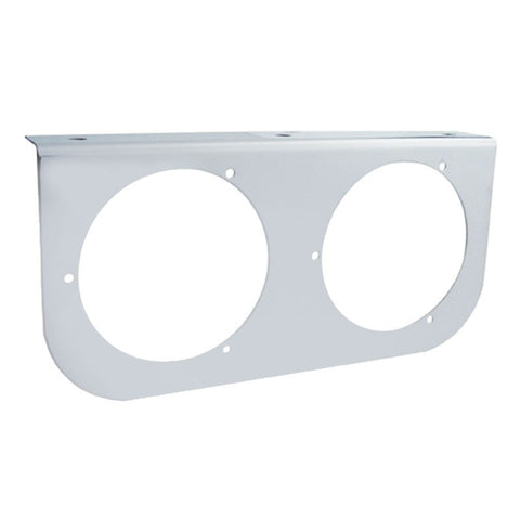 "Stainless steel light bracket w/2 round 4"" light holes - rounded edge"