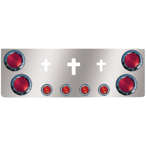 "12"" stainless steel rear center panel w/4 round 4"", 4 round 2"" light holes and 3 cross cutouts"