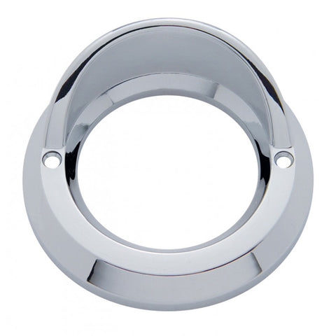 "2"" round chrome plastic grommet cover w/visor - beveled edge"