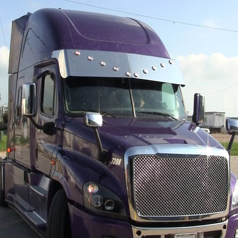 "Freightliner Cascadia 18"" stainless steel drop visor w/10 round 2"" light holes in V-formation"