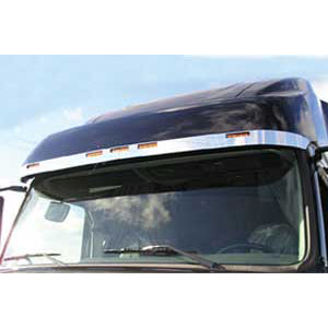 Volvo VN670/VN780 2003+ stainless steel visor trim w/light cutouts