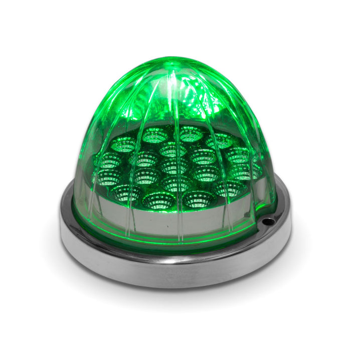 Dual Revolution Amber/Green 19 diode watermelon-style LED turn signal/auxiliary light w/reflector cup and lock ring - CLEAR lens
