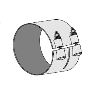 "Dynaflex 6"" diameter chrome exhaust wide band clamp"