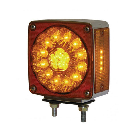 Amber/Red square 38 diode 2-stud LED turn signal light - Driver's Side