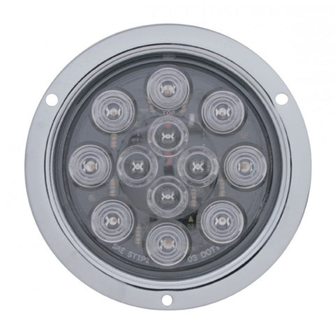 "Red 4"" round 12 diode LED stop/turn/tail utility light w/stainless steel flange - CLEAR lens"