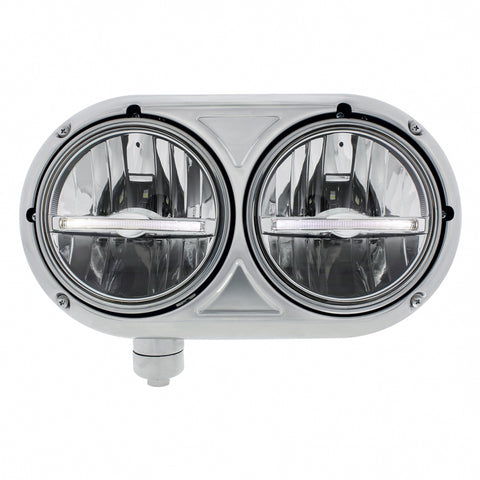 "Peterbilt 359-style stainless steel dual 5.75"" LED headlight assembly"