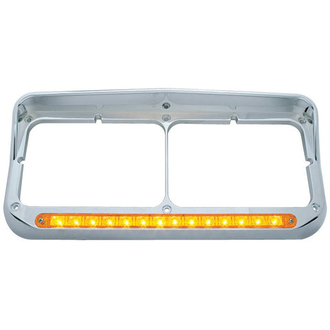 Chrome plastic dual rectangular headlight bezel w/visor, amber LED turn signal light