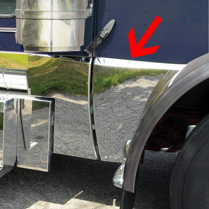 Peterbilt 389 stainless steel deluxe hood extension - PAIR