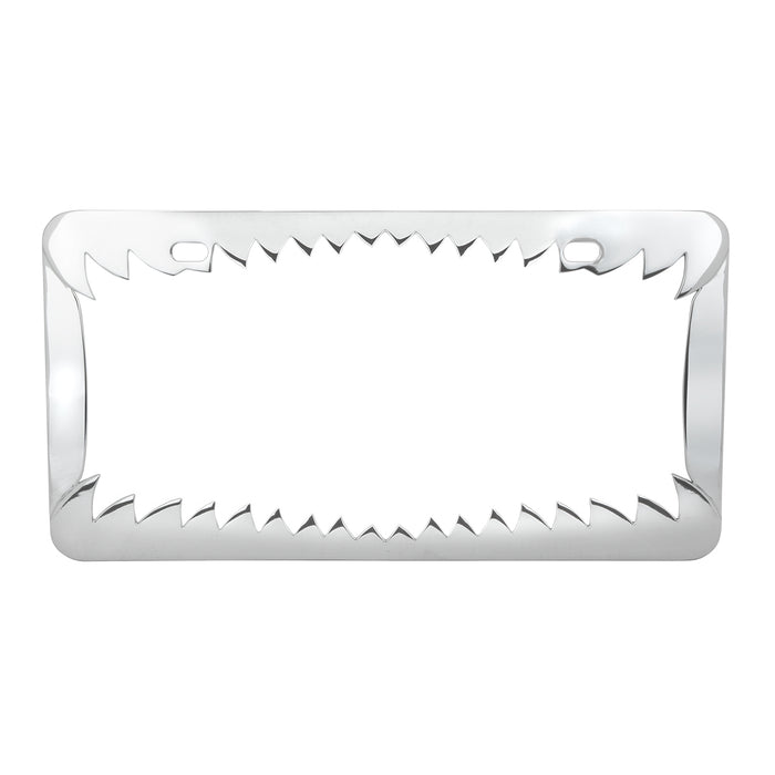 Chrome license plate frame w/shark teeth design