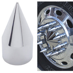 33mm chrome plastic x-pointed spike thread-on lugnut cover w/flange