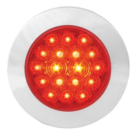"""Fleet"" Red 4"" round 18 diode LED surface mount stop/turn/tail light w/chrome bezel, 3 wires (no plug)"