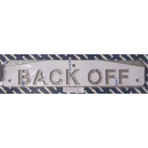 "24"" stainless steel cutout mudflap weights w/backs - PAIR - ""BACK OFF"""
