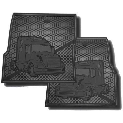 Volvo plain black colored rubber floor mats - PAIR
