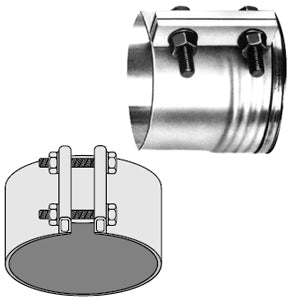 "Dynaflex stainless steel ""tru-seal"" exhaust band clamp - 6"" diameter"