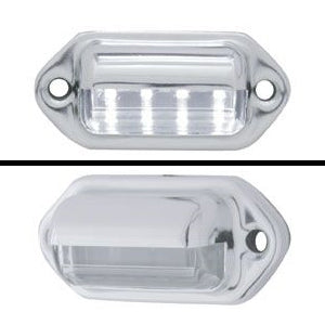 White 4 diode LED license plate/utility light w/chrome cover