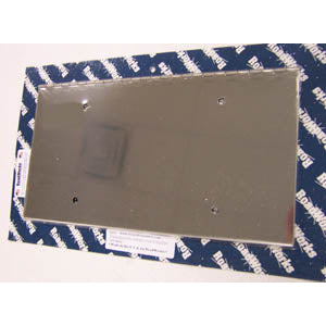"Stainless steel hinged 1 license plate holder - 14"" wide"