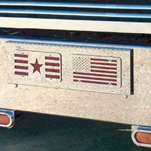 Freightliner Classic 2001+ stainless steel 2 license plate holder/tow hook holes cover