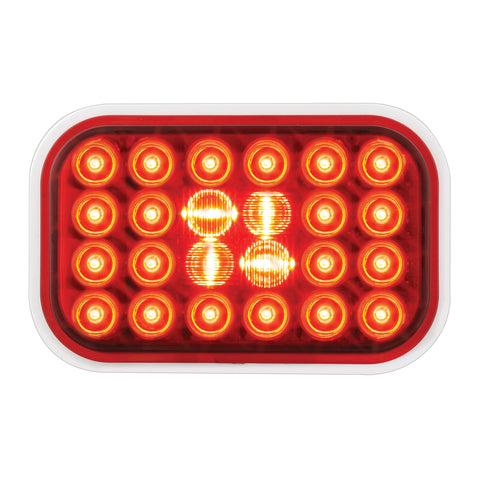 Pearl Red rectangular 24 diode LED stop/turn/tail light