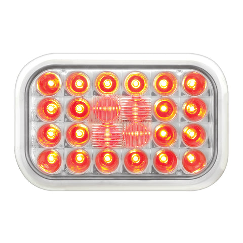 Pearl Red rectangular 24 diode LED stop/turn/tail light - CLEAR lens