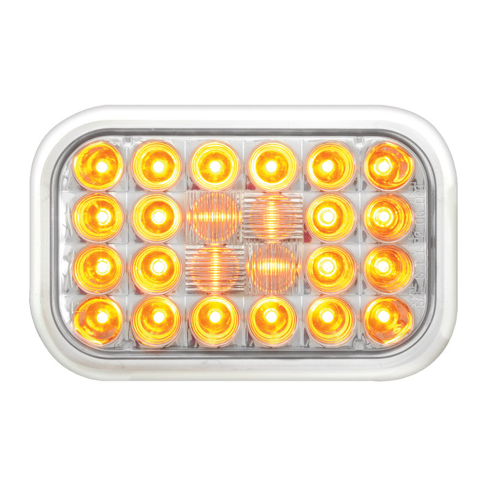 Pearl Amber rectangular 24 diode LED turn signal light - CLEAR lens