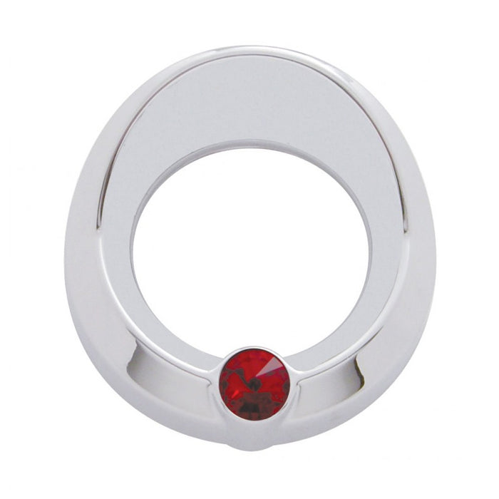 Universal chrome plastic small gauge cover with jewel, visor