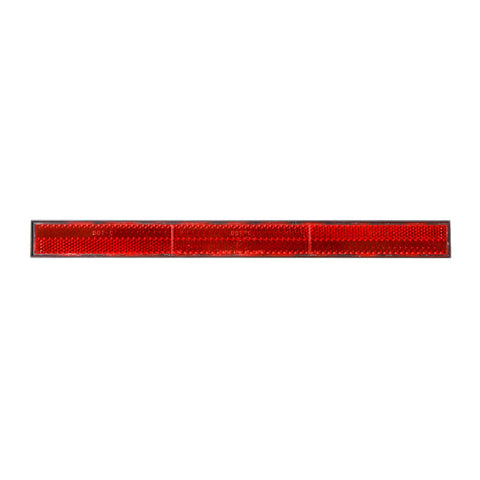 "12"" x 1-1/8"" red safety reflector w/plastic back - tape mount"