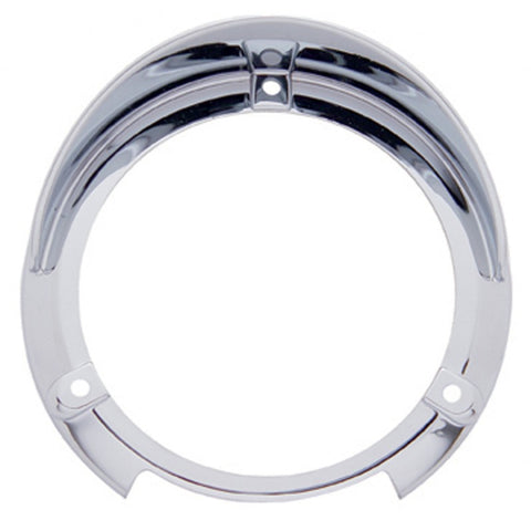 "Chrome plastic trim rim for 4"" pedestal light - Mounts Right-Side-Up"